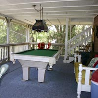 screened porch and pool table